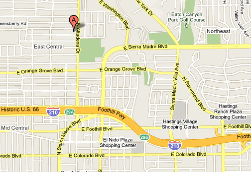 We are located within easy access of the 210 Fwy north of the Altadena Drive exit.